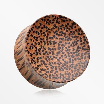 A Pair of Concave Coconut Wood Double Flared Plug