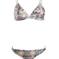 Graphic patch Bikini set | Printed silk satin like swim suit | silk satin| Womens collections | Autumn winter 2014 collections.