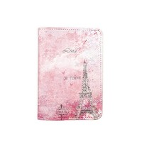 Paris Pink [Name Customized] Leather Passport Holder - Leather Passport Cover - Travel Accessory- Travel Wallet for Women and Men_SCORPIOshop