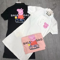 """Balenciaga x Peppa Pig"" Women Casual Cute Cartoon Letter Print Lapel Short Sleeve Polo Shirt Dress"