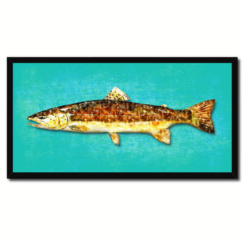 Brown Trout Fish Art Aqua Canvas Print Picture Frames Home Decor Nautical Fisherman Gifts