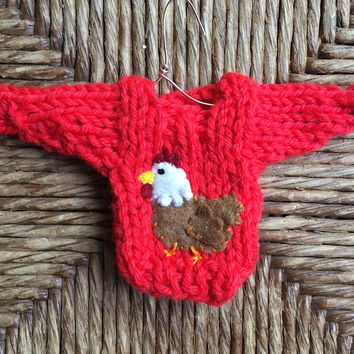 Chicken Ornament, Tiny Sweater Ornament w Chicken Applique, Farming Gift, Farm Animal Ornament, Hen Ornament, Urban farmer Country Christmas