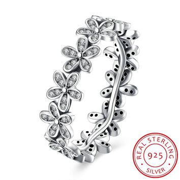 925 Sterling Silver Ring Five grass wreath and diamond ring ladies