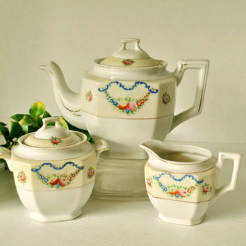 Vintage Teapot Set, Teapot Sugar Creamer Lids, 5 Pc, Made in Japan, White and Eggshell