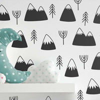 Mountain & Tree Wall Decals - Nursery Decals, Modern Decals, Geometric Decals, Vinyl Wall Decals, Nursery Decor, Cute Wall Stickers