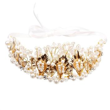 Crystal Rhinestones Faux Pearl Golden Leaves Crown Tiara Headband for Wedding