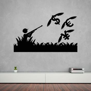Large Vinyl Decal Wall Sticker Funny Image Man Extraction Money Decoration (n612)