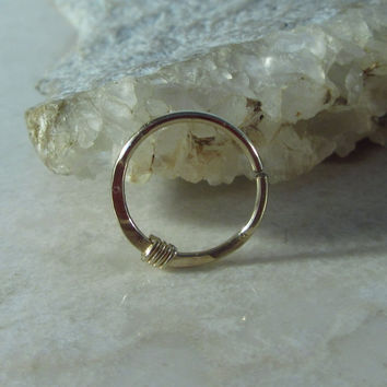 Gold Nose Ring with Silver Hammered & Wrapped