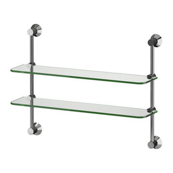SÄVERN Wall shelf unit, chrome plated, glass - chrome plated/glass - IKEA