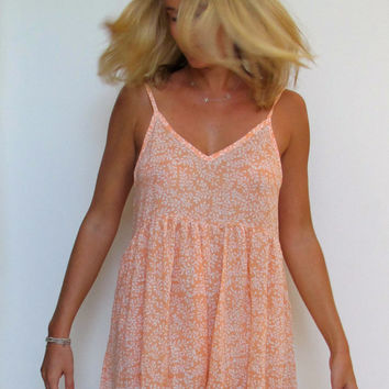 Summer Playsuit - One Piece Pom Pom Jumpsuit - Peach and White Skort