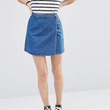 ASOS Denim Wrap Skirt in Midwash Blue at asos.com