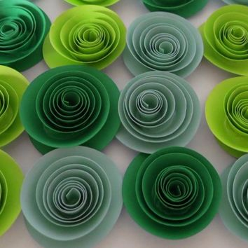 """Green Wedding decor, Ombre shades paper flower set of 12, St. Patrick's Day Table Decorations, 1.5"""" blooms, Festive decor"""