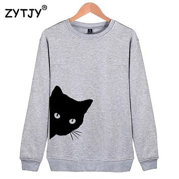 Cat Looking Out Side Print Women Sweatshirts Casual Hoodies For Lady Girl Funny Hipster Jumper
