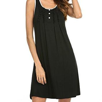 Hotouch Nightgowns Womens Sleeveless Night Gown Sleepwear Cotton Sleepdress