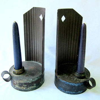 Candle Holders Metal Primitive Rustic Mid Century Country Cabin Early American