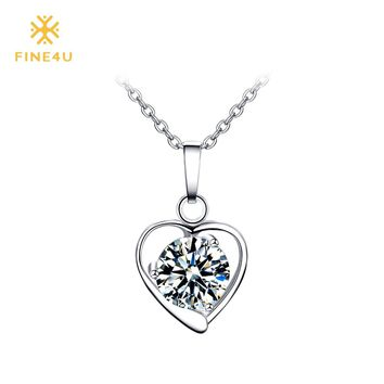 New FINE4U N020 316L Stainless Steel Heart Pendant Necklace Round Cubic Zirconia Necklaces For Women Wedding Party Jewelry
