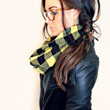 FREE SHIPPING- Mustard Yellow Buffalo Check Plaid Scarf, Mustard Buffalo Plaid Scarf, Infinity Scarf, Raw Edge (women, teen girls)