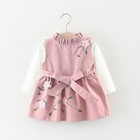 Girls dress Kids clothes Baby girl dresses Cute embroidery dress-set Girl Autumn tshirt+sundress Roupas infantis menina