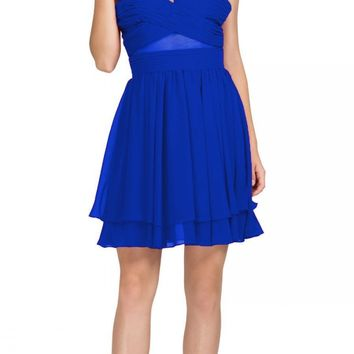 Royal Blue Homecoming Short Dress with Sheer Cut-Outs