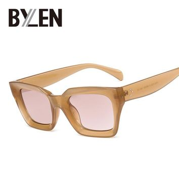 BYLEN Square Small Frame Retro Sunglasses Women 2017 Cat Eye Brand Designer Sun Glasses for Ladies Female Rivet Shades Eyeglass