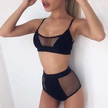 BKLD 2017 Summer Mesh Two Piece Set Tracksuit Sexy Sleeveless Sweatsuits For Women Sets Crop Top Shorts Survetement Transparency