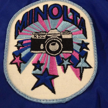 MINOLTA vintage windbreaker 1970s jacket Japanese cameras psychedelic patch size Small