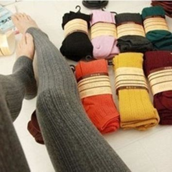 ICIKN6 Winter Warm Candy Color Twist Wheat Stripe Knit Thick Stretchy Pantyhose Foot Tights Stirrup Leggings