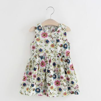 Baby Girls Summer Dress with Floral Printed 2017 Hot Sale Kids Dresses for Girls Clothes Crew Neck Cotton Blend Princess Dress
