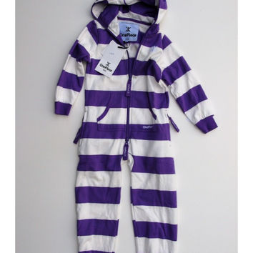 OnePiece Norwegian Norway Original Stripe Kids Jumpsuit Purple/White NWT