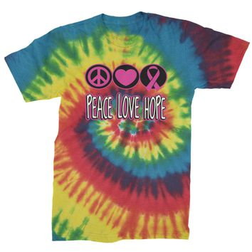 Peace Love Hope  Mens Tie-Dye T-shirt