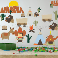 Wild west nursery wall decal, kids wall decal, western wall decal, cowboy wall decal, indian wall decal, western sticker, western wall art