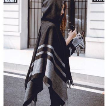 Fashion Spring Thin Cardigan Poncho Hooded Woolen Cloak Jacket Womens Wool Coats Cape Women Coat