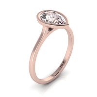 14K Rose Gold Pear Shape Morganite Minimalist Bezel Set Solitaire Engagement Ring