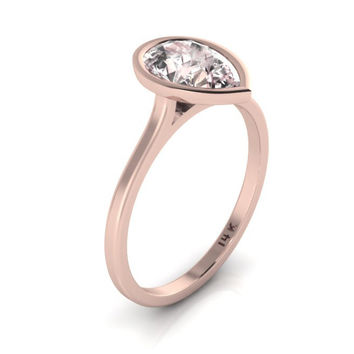 14K Rose Gold Pear Shape Morganite Minimalist Bezel Set Engagement Ring