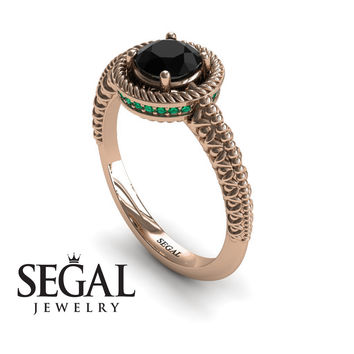 Unique Engagement Ring 14K Red Gold Vintage Art Deco Victorian Ring Edwardian Ring Filigree Ring Black Diamond With Green Emerald - Penelope