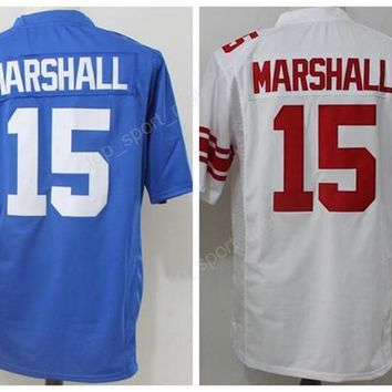 2017 New Style 15 Brandon Marshall Jersey Blue White Color Brandon Marshall Football Jerseys American For Sport Fans Embroidery Top Quality