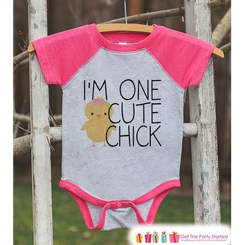Girl's Easter Outfit - I'm One Cute Chick Pink Raglan Shirt - Baby Girls Easter Spring Onepiece or Tshirt - Novelty Raglan Tee for Girls