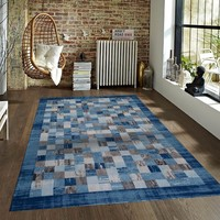 20040 Blue Tiles Contemporary Area Rugs