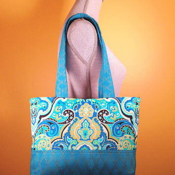 Fabric Handbag, Handmade Cloth Tote, Cotton Shoulder Bag Tote, Everyday Bag Purse, Fabric Tote, Turquoise