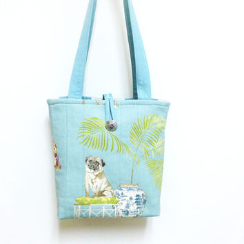 Dog handbag blue, Dog shoulder bag, Pug handbag, Shih Tzu handbag, Quilted blue tote, Quilted blue purse Dog fabric purse, Blue shoulder bag