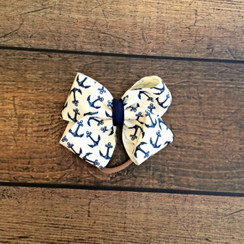 anchor ribbon bow headband, baby bows, baby headband, newborn headband, baby girl bow headbands, baby bow set, hair bows, baby shower gift
