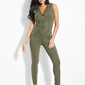Cara Zip-Front Denim Jumpsuit at Guess