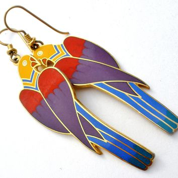 "Laurel Burch ""Cezanne"" Parrot Enamel Bird Earrings Vintage"