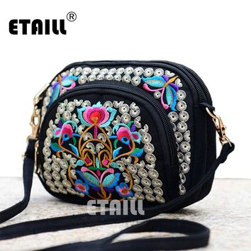 Double Face Ethnic Embroidery Crossbody Bags Boho Thai Embroidered Messenger Shoulder Bag Small Cltuch Handbag Sac a Dos Femme