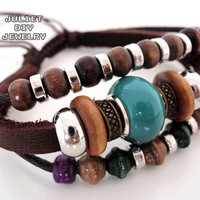 multi strand beaded leather bracelet from Urban Zen Jewelry Boutique