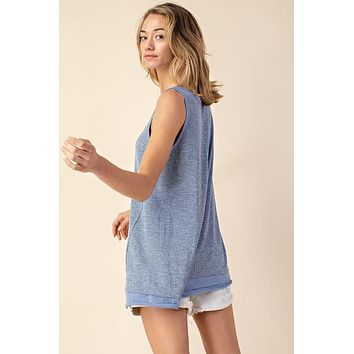 Marled Crepe Tank - Blue or Silver
