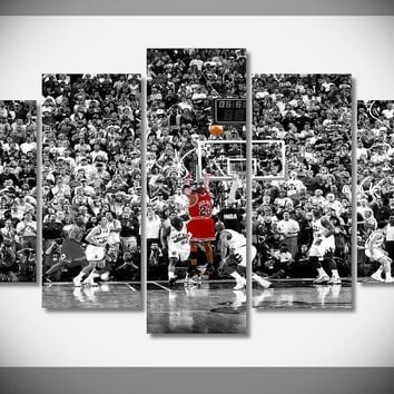 P1027 Michael Jordan Basketball fly air Last Jump Shot Chicago Bulls Final Game Poster Framed Gallery wrap art print home wall