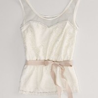 AEO Women's Lace Party Tank (Cream)