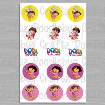 "Nick Jr Dora the Explorer Bottle Cap Images - Birthday Party Favor Tags - 1"" circles bottlecap - Dora & Boots"