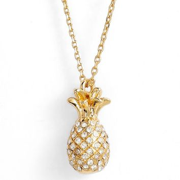 kate spade new york by the pool pavé pineapple pendant necklace | Nordstrom